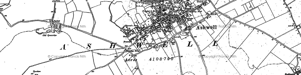 Old map of Ashwell in 1900