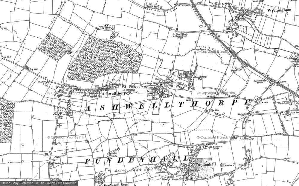 Old Map of Ashwellthorpe, 1882 in 1882