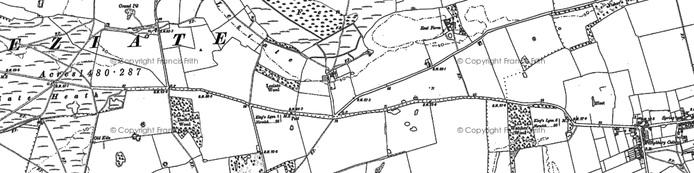 Old map of Ashwicken in 1884