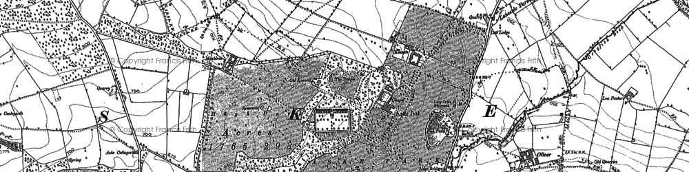 Old map of Aske Hall in 1892