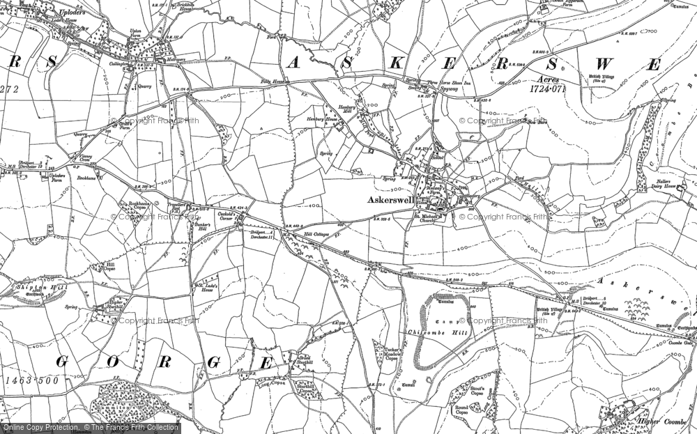 Old Map of Historic Map covering Askerswell Down in 1886