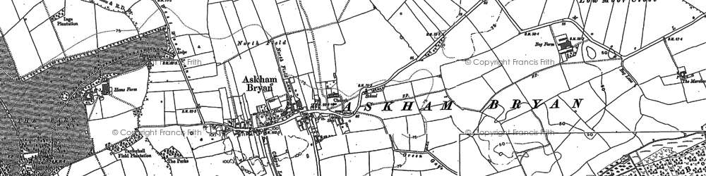 Old map of Askham Bryan in 1890
