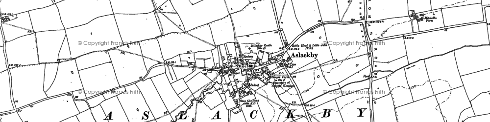 Old map of Aslackby in 1886