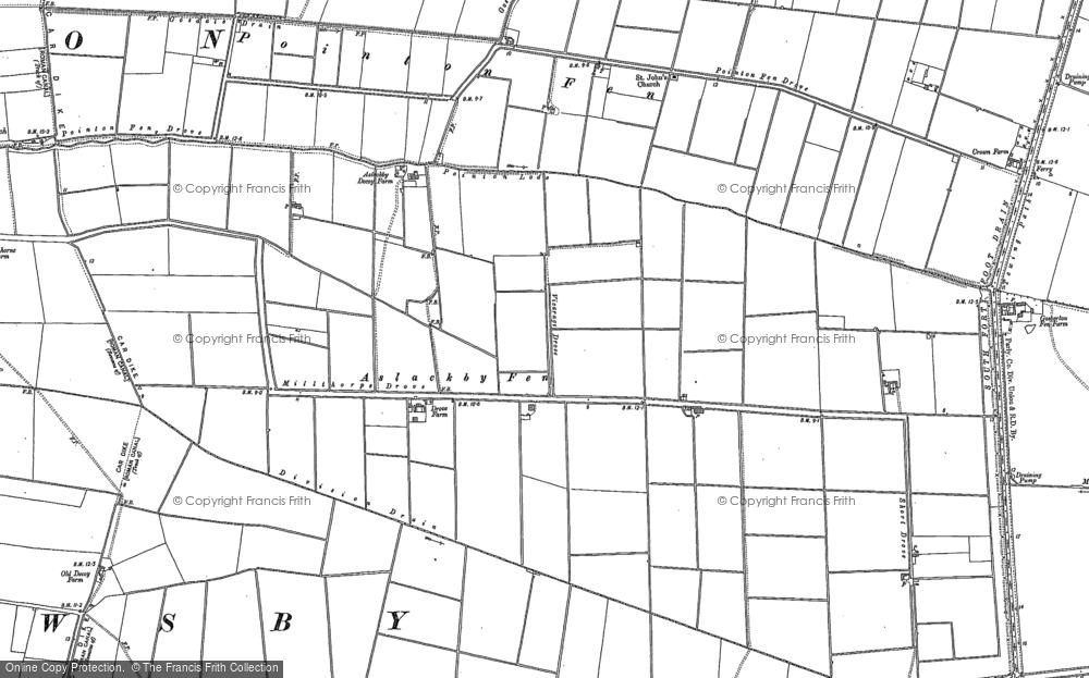 Old Map of Aslackby Fen, 1887 in 1887
