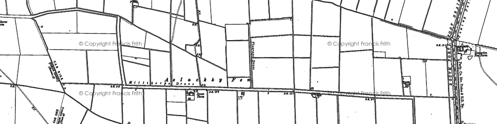Old map of Aslackby Fen in 1887