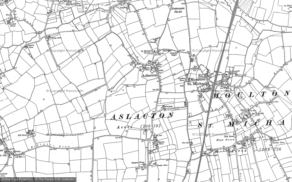 Old Map of Aslacton, 1883 in 1883
