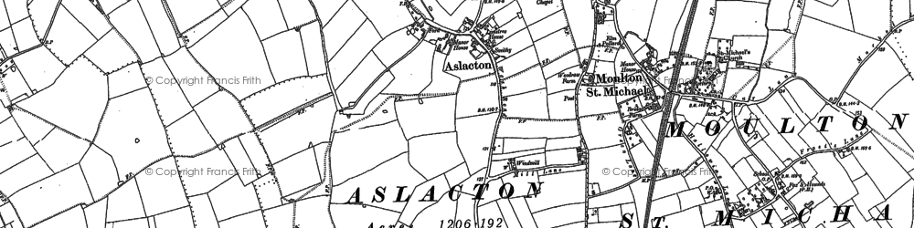 Old map of Aslacton in 1883