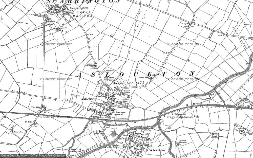 Old Map of Aslockton, 1883 - 1899 in 1883