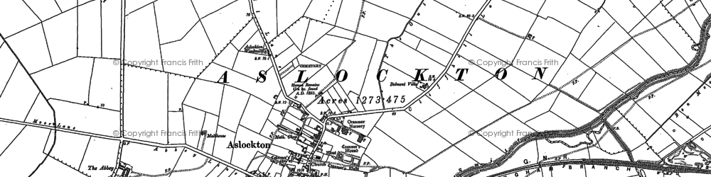 Old map of Aslockton in 1883