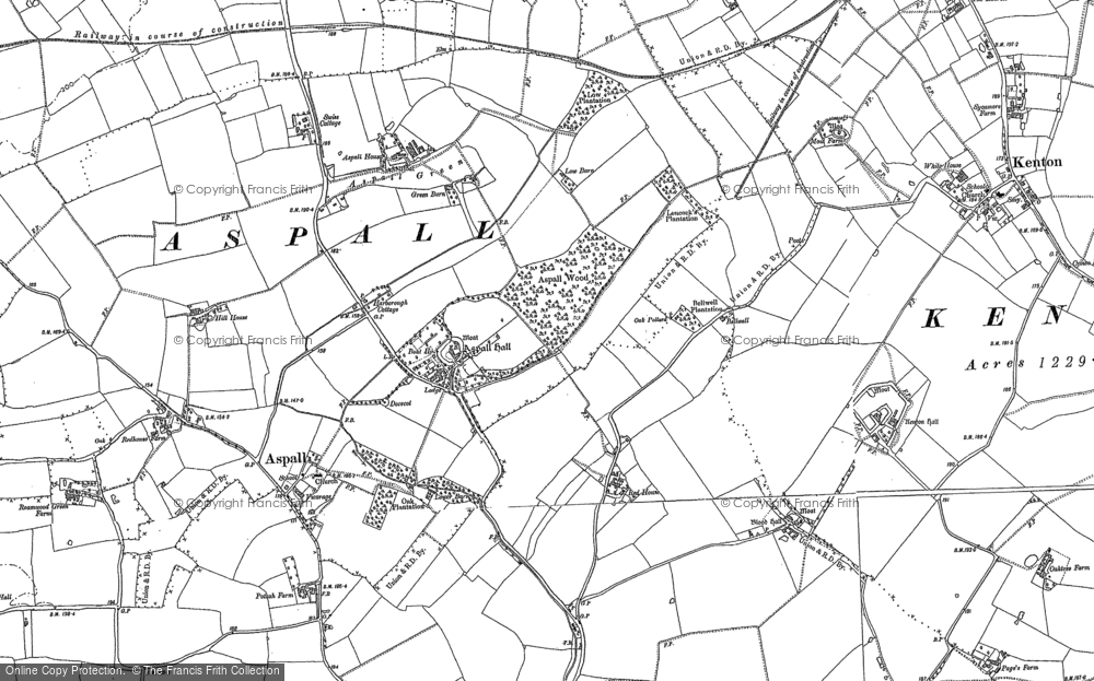 Old Map of Historic Map covering Aspall Wood in 1884