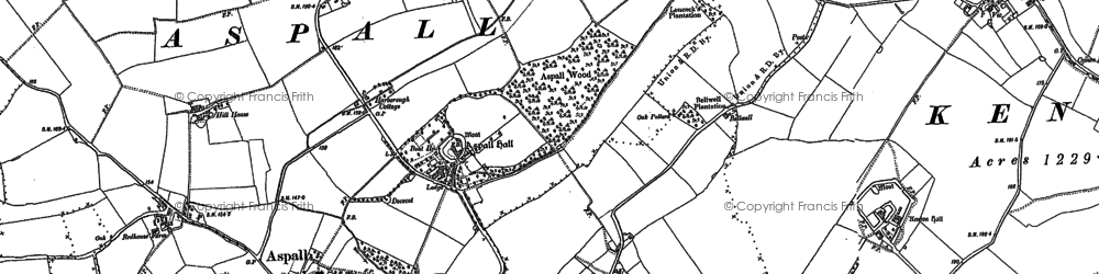 Old map of Aspall Ho in 1884