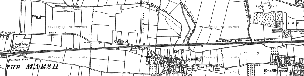 Old map of Asselby in 1889