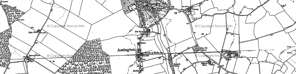 Old map of Avely Hall in 1885