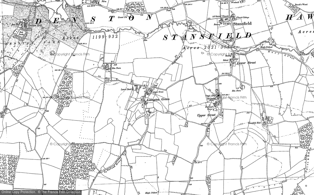 Old Map of Assington Green, 1884 in 1884