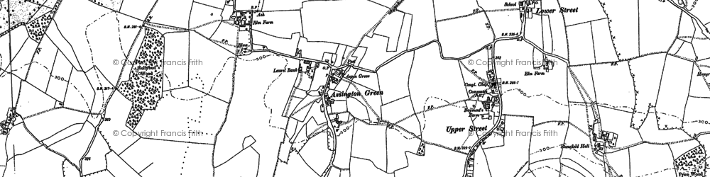 Old map of Assington Green in 1884
