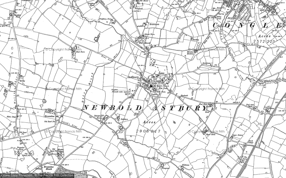 Old Map of Historic Map covering Astbury Mere in 1908
