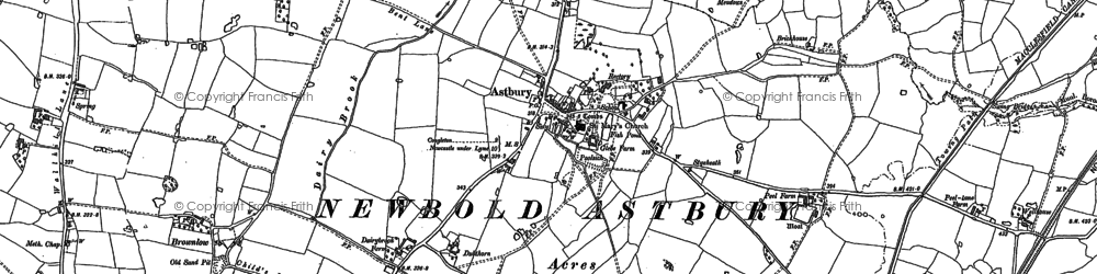 Old map of Astbury Mere in 1908