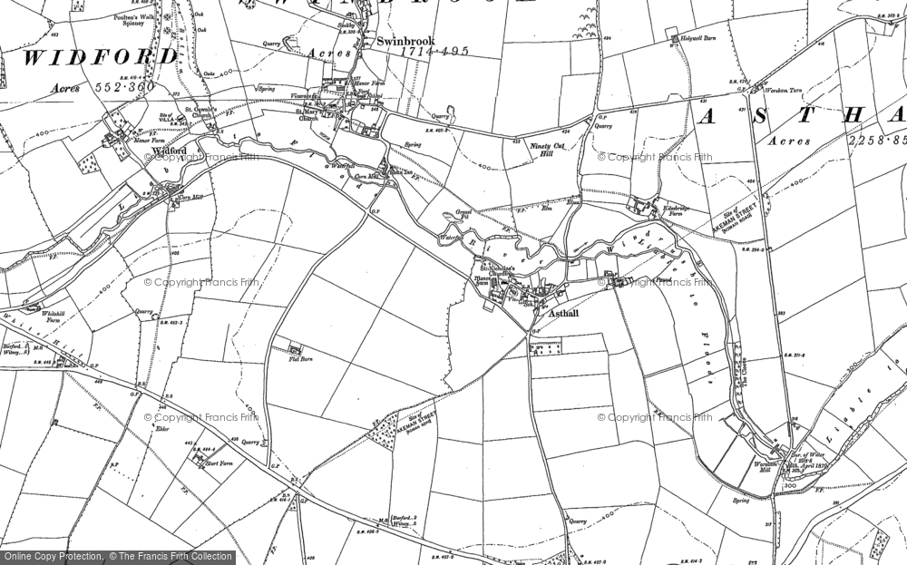Old Map of Historic Map covering Asthall Barrow in 1898