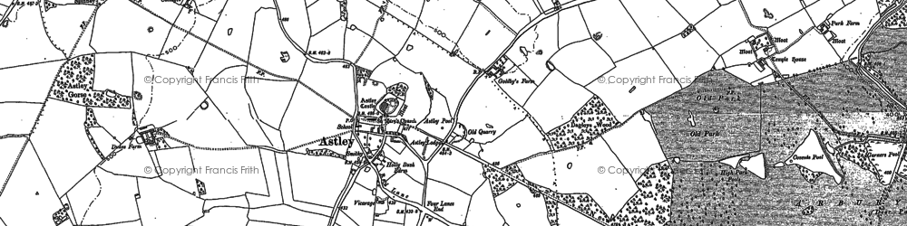 Old map of Astley Castle in 1887