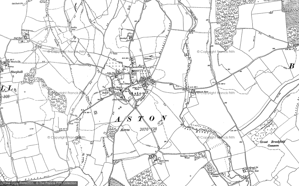 Old Map of Historic Map covering Astonbury Wood in 1897