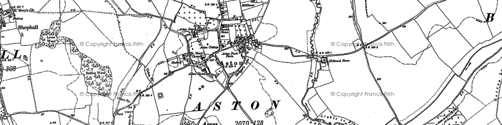 Old map of Astonbury Wood in 1897
