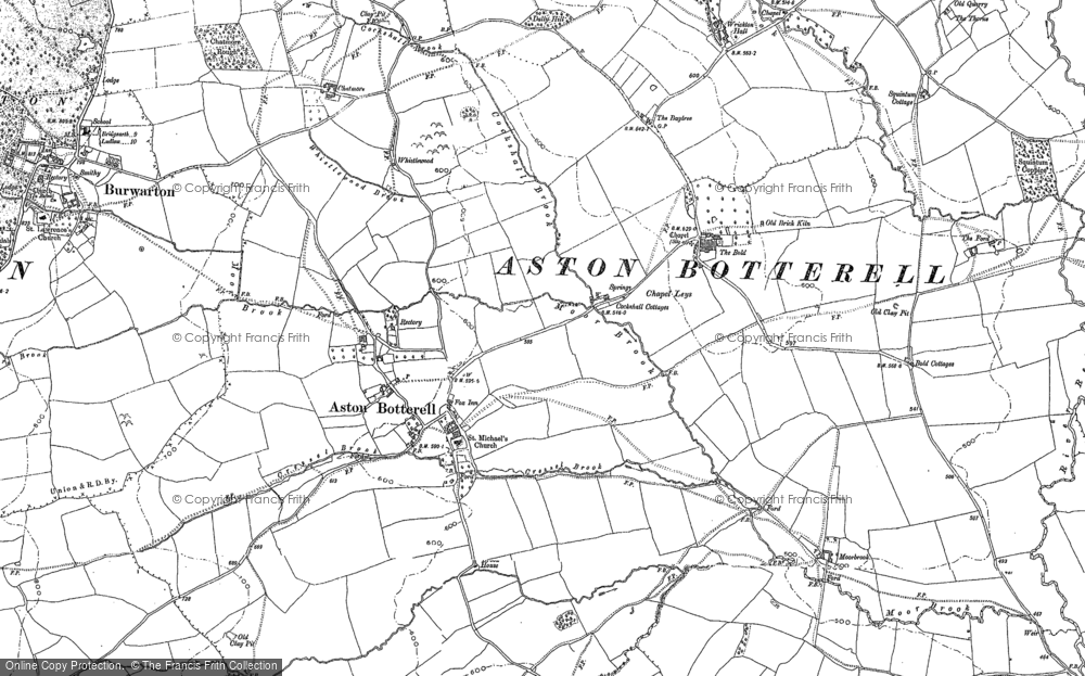 Old Map of Aston Botterell, 1883 in 1883