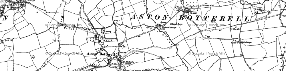 Old map of Aston Botterell in 1883