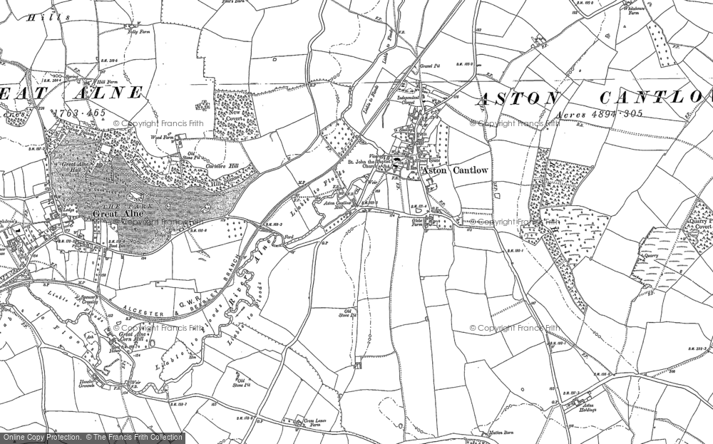 Map of Aston Cantlow, 1885