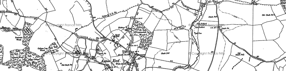 Old map of Aston End in 1896