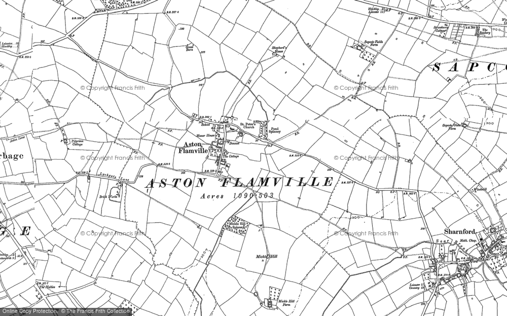 Old Map of Aston Flamville, 1886 - 1901 in 1886
