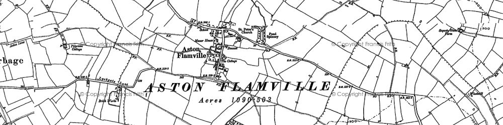 Old map of Aston Flamville in 1886