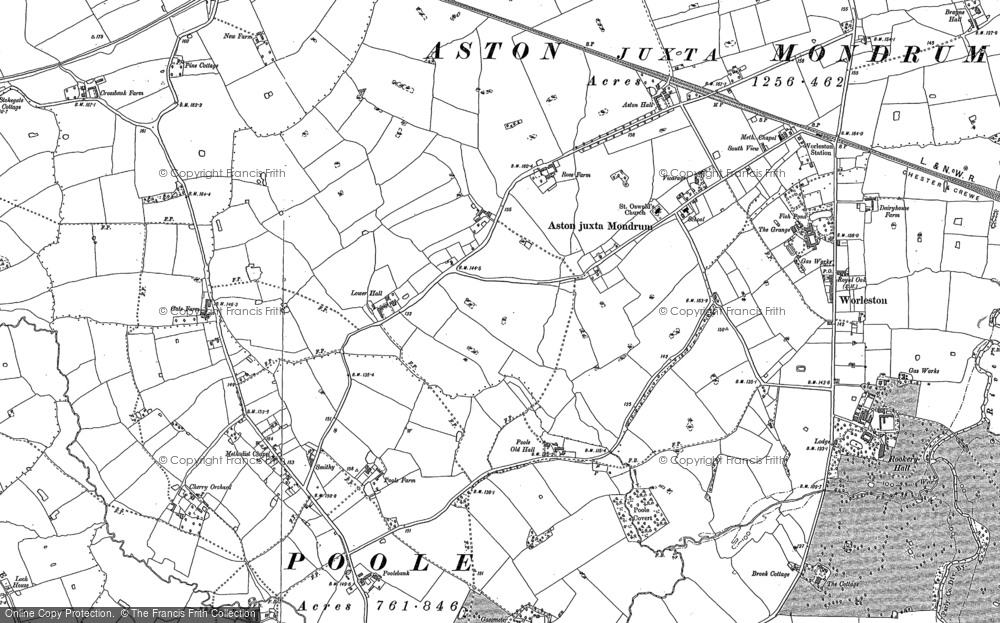 Old Map of Aston juxta Mondrum, 1897 in 1897