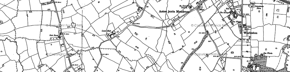 Old map of Aston juxta Mondrum in 1897