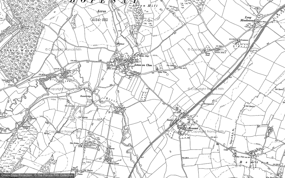 Old Map of Aston on Clun, 1883 in 1883