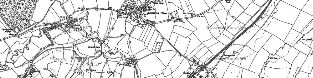 Old map of Aston on Clun in 1883