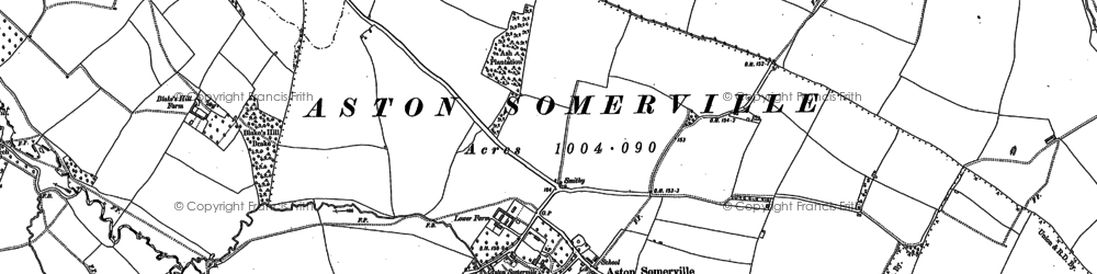 Old map of Aston Somerville in 1883