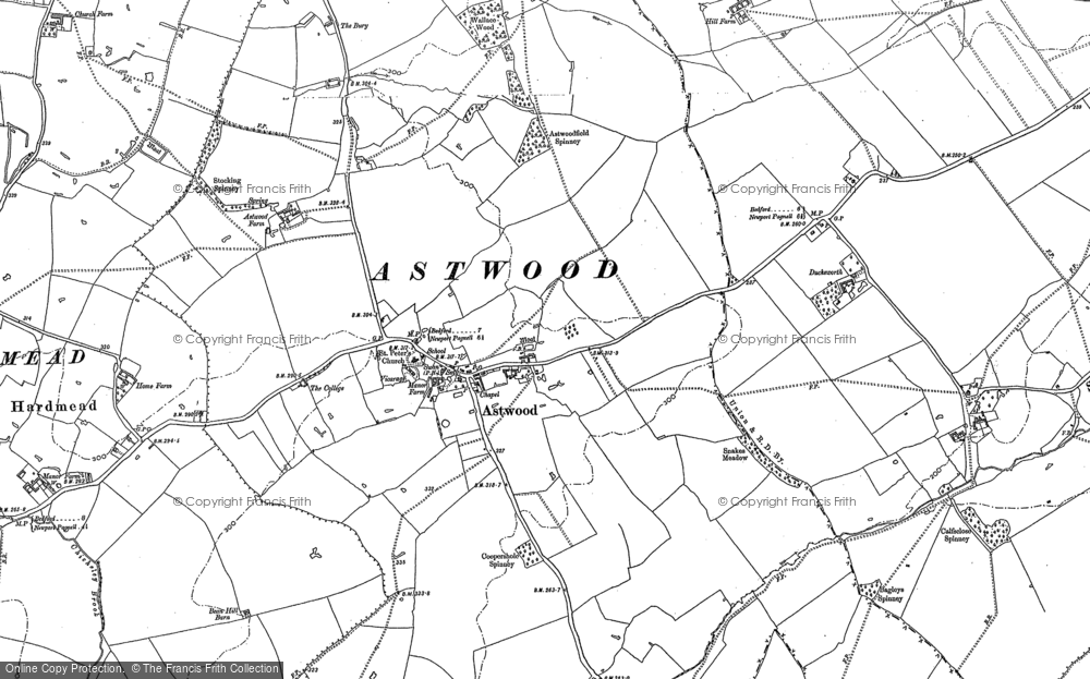 Old Map of Historic Map covering Astwood Grange in 1896