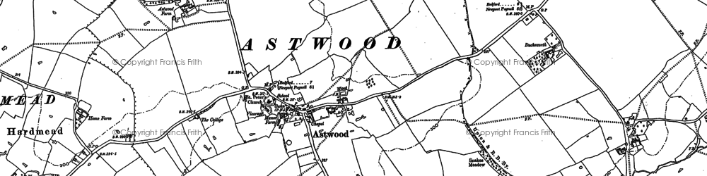 Old map of Astwood Grange in 1896