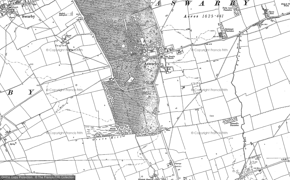 Old Map of Aswarby, 1887 in 1887