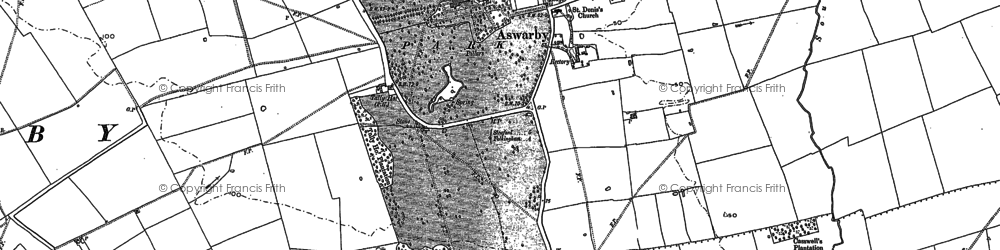 Old map of Aswarby Thorns in 1887