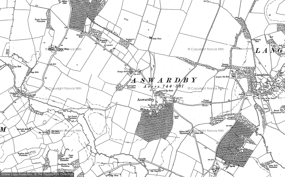Old Map of Aswardby, 1887 in 1887