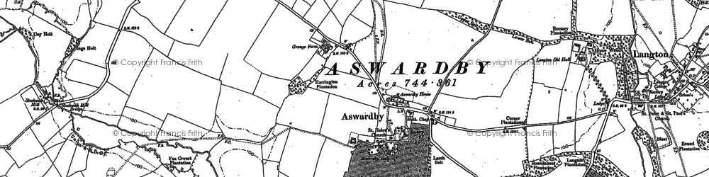 Old map of Aswardby in 1887