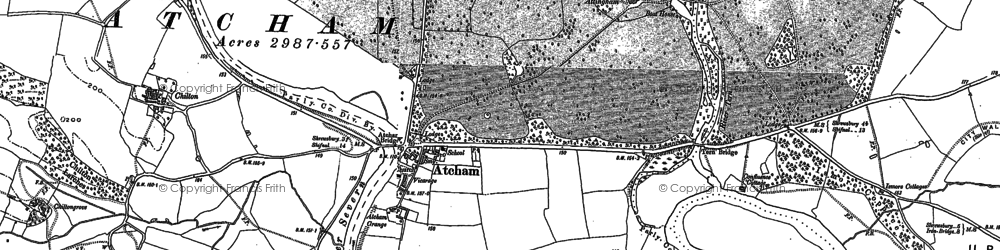 Old map of Atcham in 1881