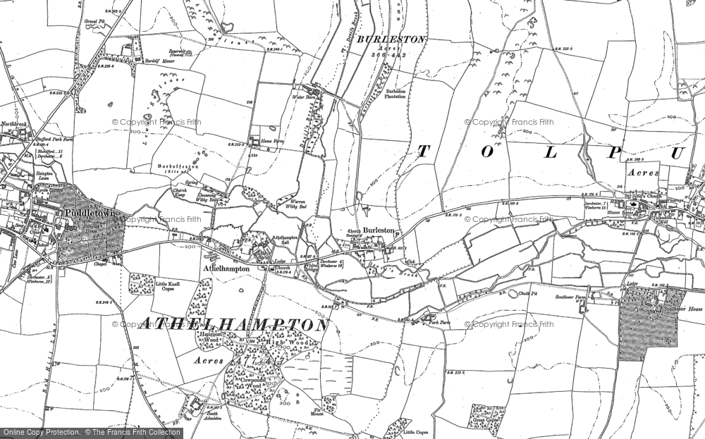 Old Map of Historic Map covering Athelhampton House in 1885