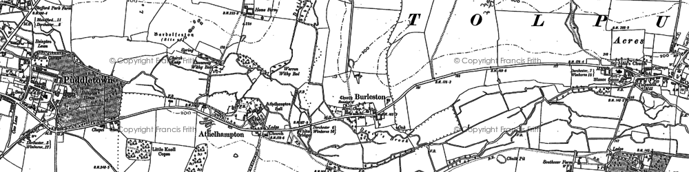 Old map of Athelhampton in 1885