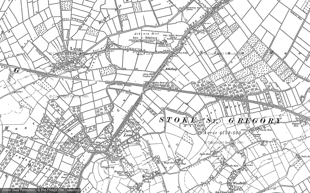 Old Map of Historic Map covering Athelney Hill in 1885