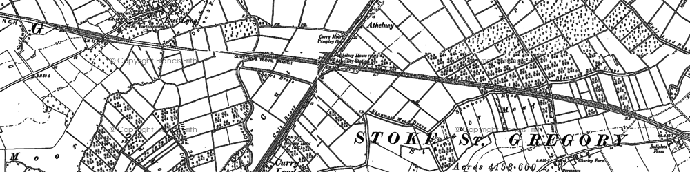 Old map of Athelney in 1885