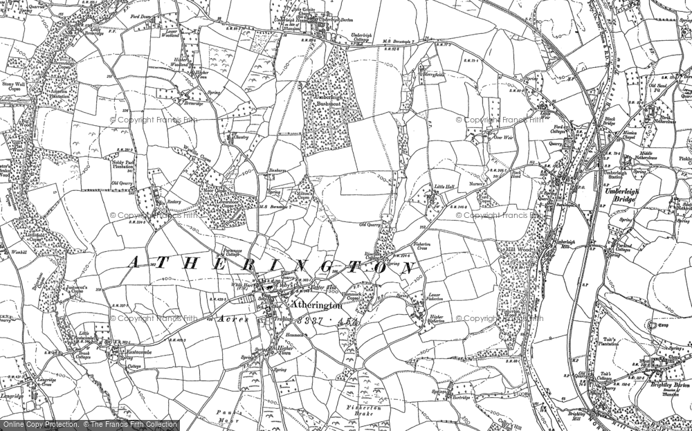 Old Map of Historic Map covering Langridgeford in 1886