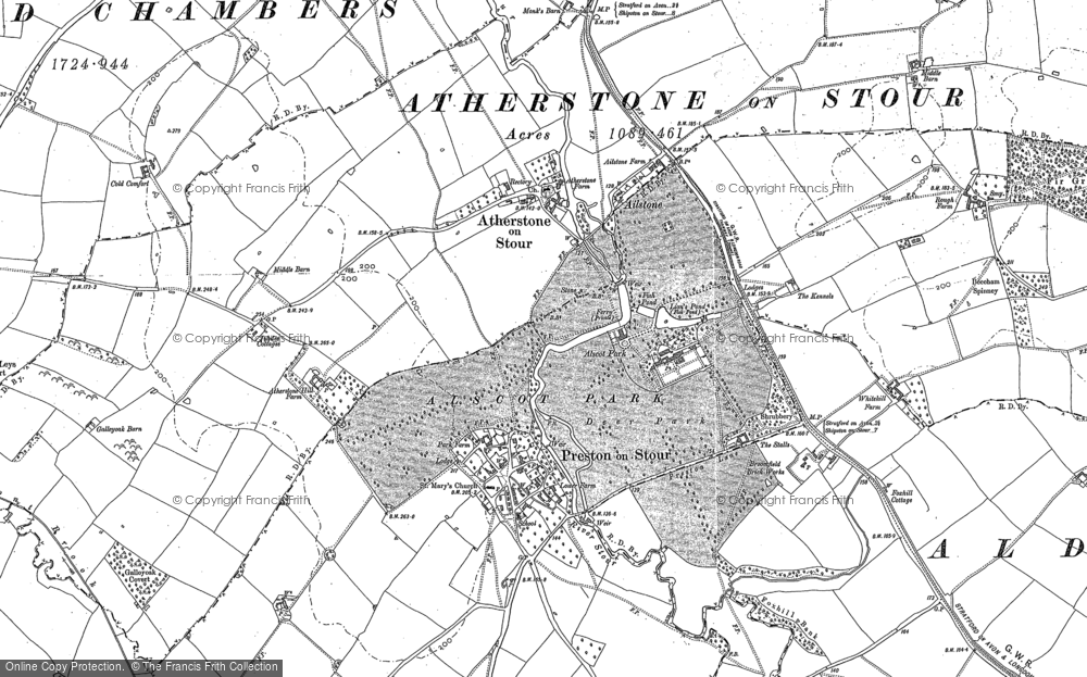 Old Map of Historic Map covering Ailstone in 1883