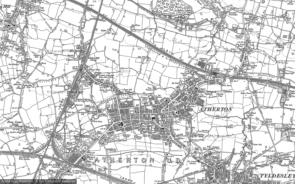 Old Map of Historic Map covering Lilford Park in 1892